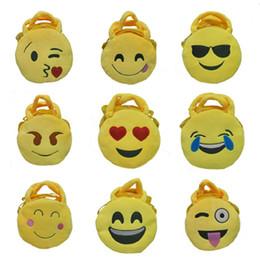 Wholesale Smile Wallet - Hot sale best price 15 designs QQ expression Coin Purses cute emoji coin bag plush pendant smile wallet IC647