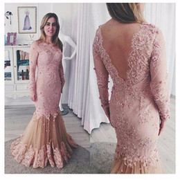 Wholesale Robes Pageant - New Style Robe De Soiree Jewel Mermaid Evening Dresses Lace Appliques Pearls V Neck Long Sleeves Floor Length For Pageant Party Dresses