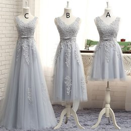Wholesale Cheap Long Black Peplum Dress - Grey Bridesmaid Dresses Sleeves V NeckTulle Long Dress Custom Made Three Style A Line Wedding Dresses Bridesmaids Gowns Cheap Dress