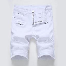 Wholesale Men S Jeans Bermuda - 2017 New Men Ripped Biker Jeans Shorts Men's Bermuda White Black Denim Shorts for Male Stretch Fashion Zipper Short Masculino