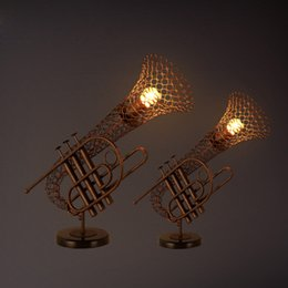 Wholesale House Led Light Decor - LOFT Vintage Coffee House Table Lamp Decor Iron Art Industrial Style Creative Personalized Saxophone Shape Lighting Fixture