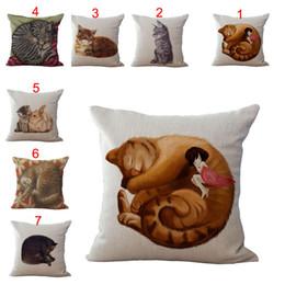 Wholesale throw pillows for sofas - Cute Animal Sleepy Cat Throw Pillow Case Cushion cover linen Cotton Square Pillowcase Cover for Home sofa Bed Pillows Decor 240470