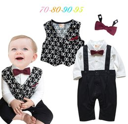 Wholesale Toddlers Wedding Suits - 2017 spring romper sets bow knot infant baby boy rompers toddler jumpsuits newborn baby belt suit for birthday party wedding new