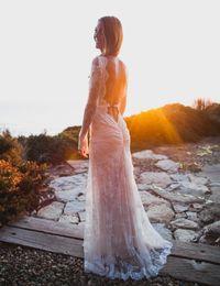 Wholesale Model Castles - 2018 New Arrival Bohemian Wedding Dress Vintage Boho Long Lace Bridal Gowns Romantic A Line Long Sleeves White Vestido De Noiva