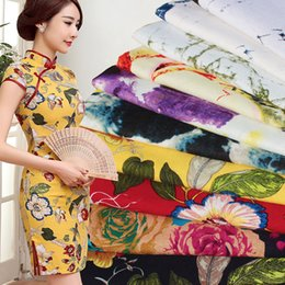 Wholesale Chinese Printing Machine - 066 Traditional Chinese Manual Floral Printing and Dyeing Cotton Linen Fabric 1 meter DIY Cloth for Women Clothes Dress