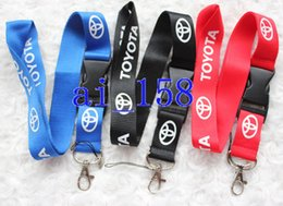 Wholesale Key Chain Id Holder - Wholesale 30PCS TOYOTA CAR Logo neck lanyard phone key chain for collection ID holders Free shipping 3 colours