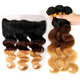 Wholesale extensions 27 - Ombre Hair Extensions 1b 4 27 13x4 Lace Frontal With Bundles Brazilian Body Wave With Closure Ear To Ear Bundles With Closure
