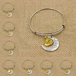 Wholesale Alex Love - Antique Silver Gold MOTHER DAUGHTER SISTER MOON Dangle Charms Love Bangle Alex Style Bracelet and Gift For Any Family Members
