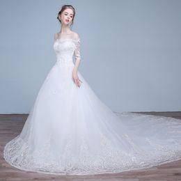UK long sleeves wedding dress princess - Vintage Lace Wedding Dresses Cheap Modest Sheer Long Sleeve Plus Size Off Shoulder Applique Bridal Gowns Vestidos De Novia