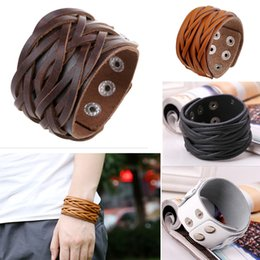 Wholesale Biker Leather Wholesale - Biker Punk Rock Leather Bracelets Wide Braided Adjustable with Snap Button Gothic Mens Leather Wristband Cuff Bangle Bracelet