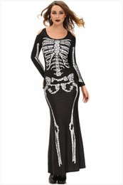 Wholesale Womens Witch Costumes - Womens Halloween costumes role-playing demon witch costumes Skeleton Skull Printed Sexy Club performances Cosplay Maxi Dresses