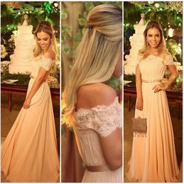 Wholesale Long Sleeves Maxi Dress Petite - Elegant Long Champagne Lace A Line Prom Dresses Party Evening Gown Formal Off Shoulder Short Sleeve Chiffon Women Maxi Dress