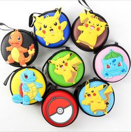 Wholesale Headphones Cartoons - Poke go Pikachu Ball wallet 8 Style Cartoon Purses Round Iron Mini Wallets Zipper Key pocket monster Headphone Holder Bags B001