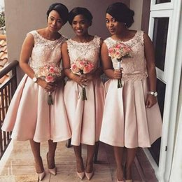 Wholesale Tea Length Dresses Lace Blush - 2018 New Cheap Short Blush Pink Bridesmaid Dresses For Wedding Scoop Neck Lace Appliques Sash Bow Plus Size Maid Of Honor Party Gowns