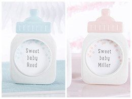Wholesale Baby Shower Frames - 60Pcs Lot Baby shower Party decoration Favors of Baby Bottle Frame in Blue and Pink For baby souvenirs and Baby Birthday gift Free shipping