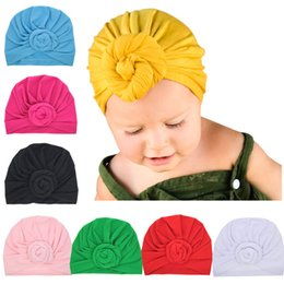Wholesale Turban Baby Hat - Baby Girls handmade flower hat kids cute solid color turban hat 8colors 20*18cm