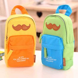 Wholesale Backpack Old School - Wholesale-Creative Mustache Backpack Shape Canvas Pencil Bag Stationery Storage Organizer Case School Supply Student Prize
