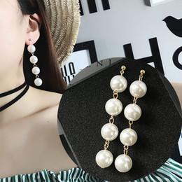 Wholesale Wild Pearl - Wild simple style earrings large pearl tassel long earrings woman fashion