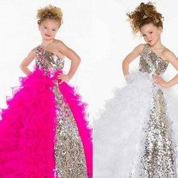 Wholesale Sweetheart Neckline Communion Dress - 2016 Cute Lovely Sequins Crystal Ruffles A Line Tulle Girl's Pageant  Flower Girl Dresses With One Shoulder Neckline