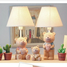 Wholesale Fabric Engraving - Fabirc Lampshade Natural Resin Kids Cartoon Mr Miss Bear Lovely Table Lamps Reading Lights Lamp Bedroom Beside Indoor Lighting Fixtures