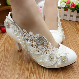 Wholesale Elegant Prom Heels - New Arrival Lace Wedding Shoes White Rhinestone Beaded Bridal shoes 2017 Elegant Prom Party Event Wear Size 34 to 40