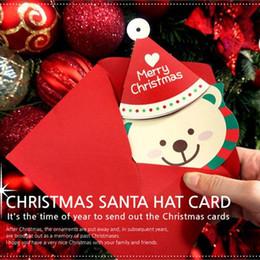 Wholesale Bear Christmas Cards - 30Pcs Christmas Santa Bear Hanging Greeting Cards