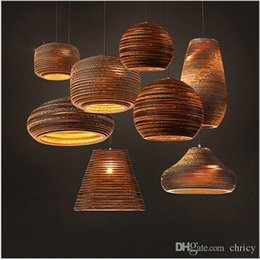 Wholesale Brown Lampshade - Creative new design Corrugated Paper Lampshade Modern Pendant Light Creative Northern Europe style Luminaire E27 85-265V Home Lighting