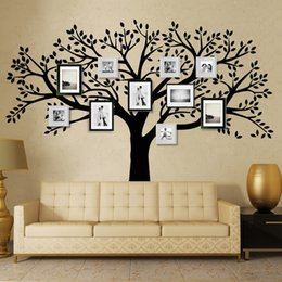 Wholesale Black Photo Tree Wall Decal - Free Shipping Family Tree Wall Decals Oversized Photo Frame Tree Wall Stickers for Kids Room for Living Room DIY Home Decor