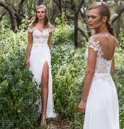 Wholesale Backless Sweetheart Sheath Wedding Dress - country wedding dresses 2017 side split sexy scoop back long train off the shoulder sweetheart neckline lace heavily embellished bodice