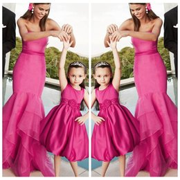 Wholesale Organza Mermaid Dress For Cheap - 2017 New Beautiful Mermaid Vogue Fuchsia Best Matching For Mother And Daughter Prom Party Dresses Flower Girls Dresses Cheap Parent-Child