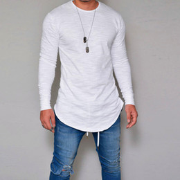 Wholesale base tee - New Collection Men's T Shirt Slim solid Base Tee Round neck Pure color Selling hot section Long sleeve t-shirt