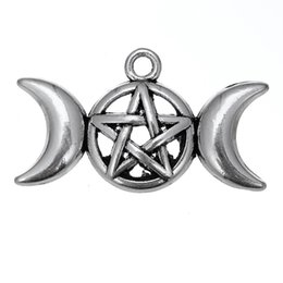 Wholesale Wiccan Charms Wholesale - Triple Moon Goddess Magic Wiccan Dome Pendant Charm Zinc Alloy Antique Silver Plated Amulet Talisman of Pentacle Jewelry 20pcs