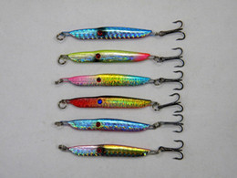 Wholesale Metal Casting Fishing Lures - New Metal Jigs Lures 6colors 5.7cm 13g 3D Eyes Deep diving Cast Iron Spinner bait Saltwater Fishing Spinnerbaits