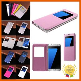 Wholesale Blackberry View - Leather Flip View Window Protective Phone Case Cellphone Cover Skin Samsung Galaxy Note7 S6 S6 Edge S7 S7 Edge