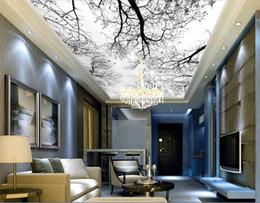 Murais de árvores negras on-line-3d murais de teto papel de parede personalizado foto não-tecido mural 3 d murais de parede papel de parede para paredes 3d preto e branco árvore céu decoração pintura