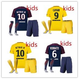 Wholesale Ben Shirt - 2018 kids +socks Neymar jr soccer jersey home away jersey Di Maria Matuidi Silva Ben Arfa Cavani Draxler Dani Alves Football shirt