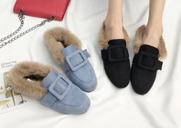Wholesale Real Injection - Hot! Autumn and winter new Women's shoes Add wool Real rabbit fur slippers flat Wear outside Half the slippers Short plush shoes
