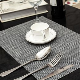 Wholesale Woven Table Mats - 4 Pcs lot weave Placemat fashion pvc dining table mat disc pads bowl pad coasters waterproof table cloth pad slip-resistant pad