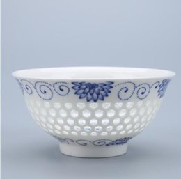 Wholesale Retro Glaze - Paul Ceramic Pack of 2 Pcs Chinese Bowl Rice Soup Bowl On Glazed Retro Hollow Bowls With Spoon, T030D