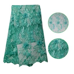 Wholesale 3d Lace Trimming - Embroidery French Tulle Mesh Lace Fabric Aqua Beaded Embroidery Lace Trim 3D Embroidery Beaded Lace Fabric