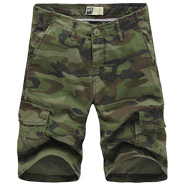 Wholesale Green Cargo Shorts - Wholesale-2016 Men Camouflage Shorts New Summer Fashion Designer Knee Length Cargo Shorts For Men Size 29-38 T0016