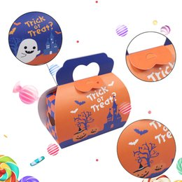 Wholesale Personalized Paper Gift Bags - New Halloween Paper Candy Bag Personalized Children Candy Gifts Bag Pumpkin Spider treat or trick Drawstring Bags free shipping