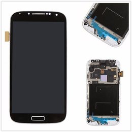 Wholesale Lcd S4 Black - no sumsang logo LCD Touch Screen Digitizer with frame black For Galaxy S4 i9500