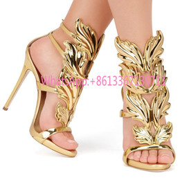 Wholesale Silver Wedding Shoes Ankle Strap - Gold Silver Gladiators Woman Wing Leaf Sandals Summer Shoes Genuine leather Wedding Party Shoes Stiletto Buckle High heels Pumps Brand