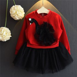 Wholesale Girls Patching Dress - 2016 Girl Princess Dress Set winter dresses Long Sleeve Hollow Out Tops + Long Sleeve Patched Tulle Dress 2pcs Set Child Clothing Sets