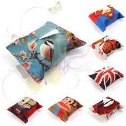 Wholesale Handkerchief Boxes Wholesale - 2016 new Creative Linen Print Tissue Box Tissue Storage Tissue Holder Home Dining Room Car Napkin Paper Handkerchief Case Storage 17 Designs