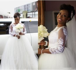 Wholesale vintage girls skirts - African Plus Size Wedding Dresses Jewel Sheer Neckline 3 4 Long Sleeves Wedding Dress With Sash Beads Lace Appliques Black Girl Bridal Gowns