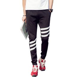 Wholesale Boys Yellow Sweatpants - Wholesale-2016 New Mens Casual Skateboard Pant Boys Stripe Sweatpants Pants Trousers Sweatpants #A41594