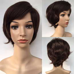 Wholesale Brown Hair Celebrities - Fashion Sexy Short Dark Brown Bob Wig High Quality Classical Style Wig Straight Synthetic Hair Full Wigs Celebrity Wig Wholesale