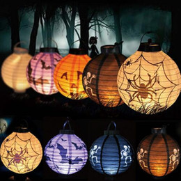 Wholesale Decoration Paper Lanterns - Halloween Decoration LED Paper Pumpkin Bat Spider Light Hanging Lantern Lamp Halloween Props Outdoor Party Supplies